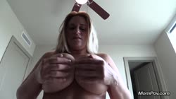 Big natural tits MILF jerks me off POV